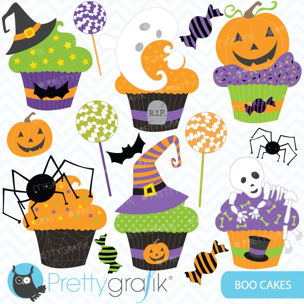 Halloween cupcake clipart (commercial use, vector graphics.