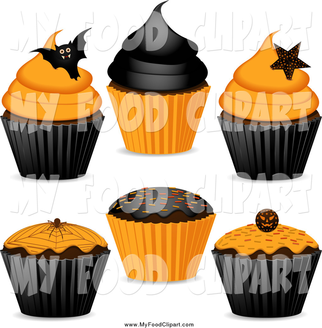 Food Clip Art of Orange and Black Halloween Cupcakes by.