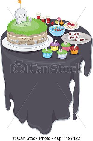 Vector Illustration of Halloween Party Food.