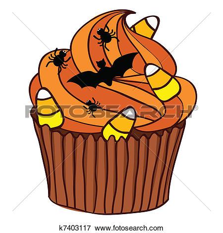Clip Art of Halloween Cupcake k7403117.