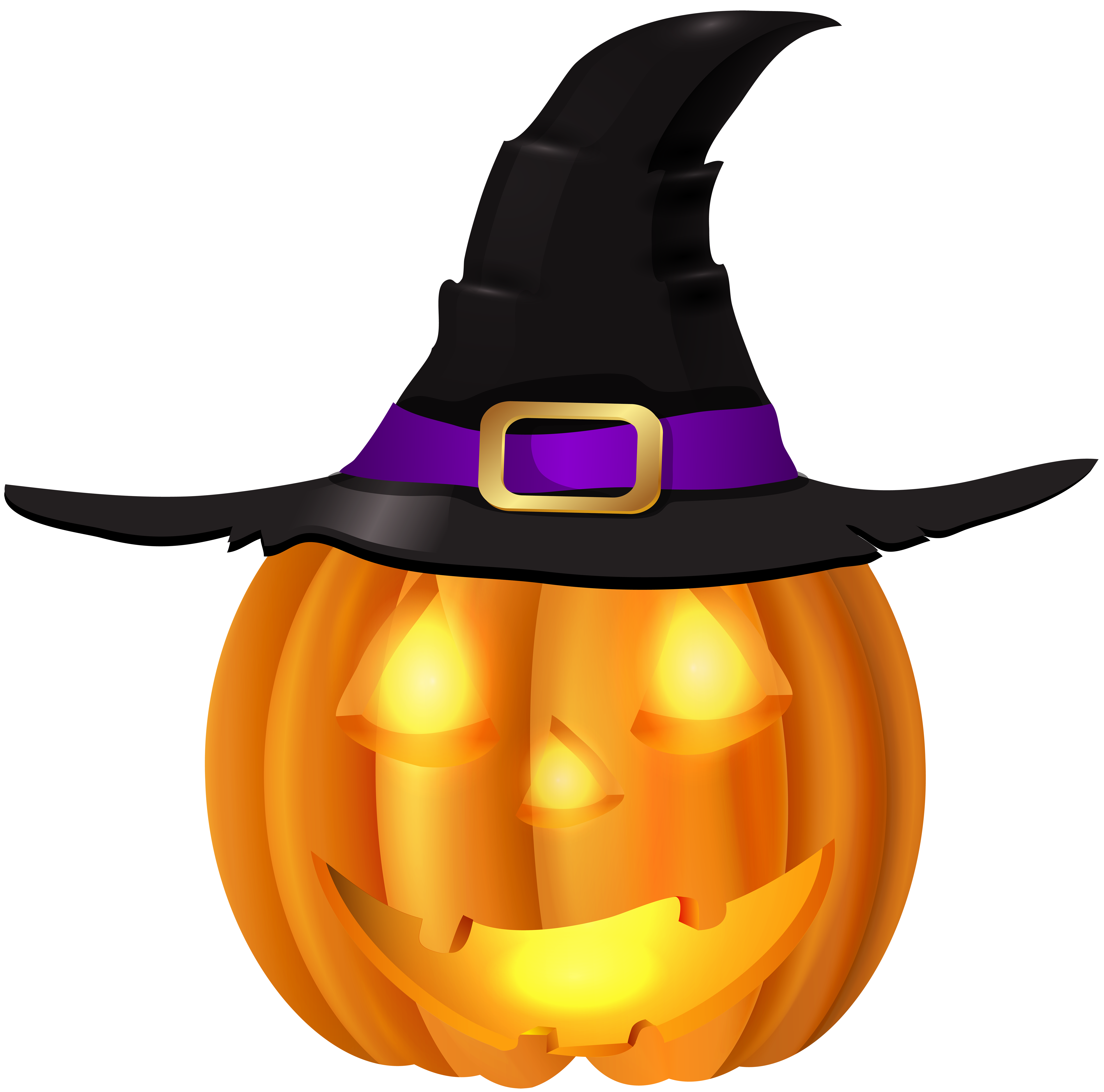 Halloween Pumpkin with Witch Hat PNG Clip Art.