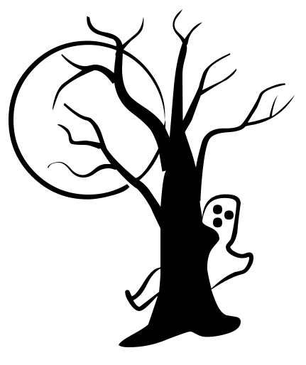 Ghost Tree Moon Clipart.