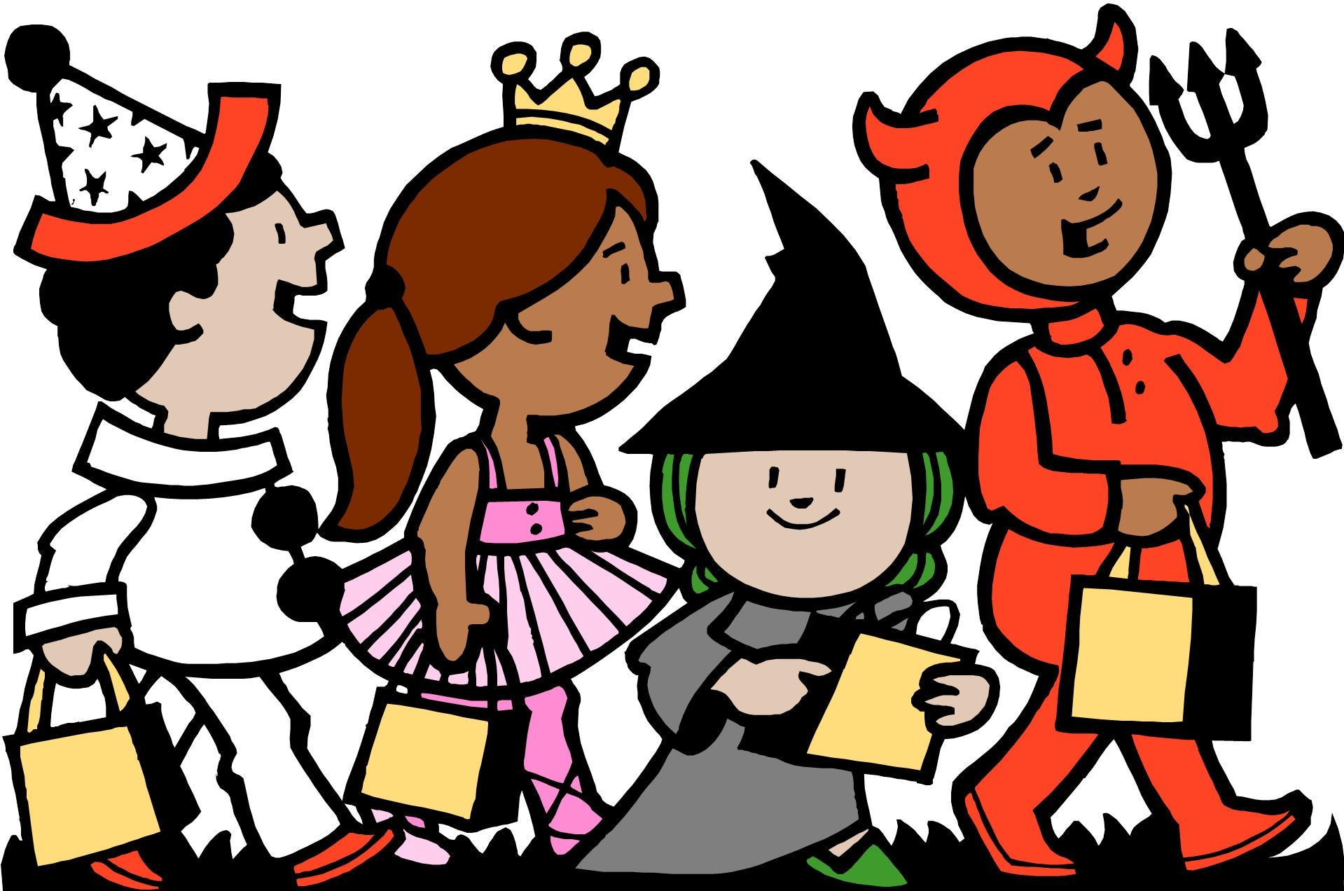 Clipart Kids Trick Or Treating.