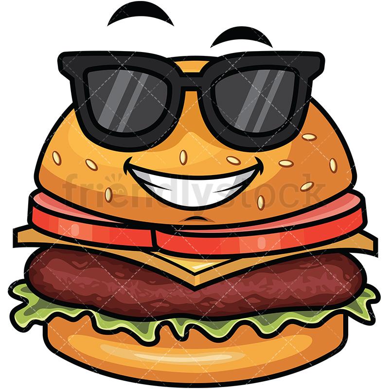 Cool Hamburger Wearing Sunglasses Emoji.
