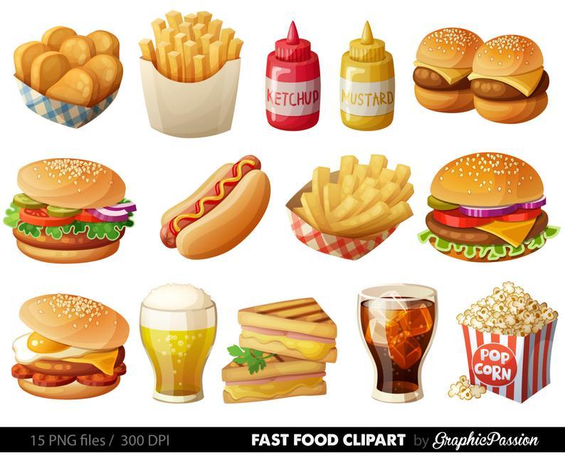 Fast Food Clipart Hamburger Clip art Food Vector graphic Food clip art  Hotdog clipart popcorn clip art Sandwich clip art Burger clip art.