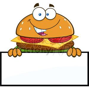 8576 Royalty Free RF Clipart Illustration Hamburger Cartoon Character Over  A Blank Sign Vector Illustration Isolated On White clipart. Royalty.