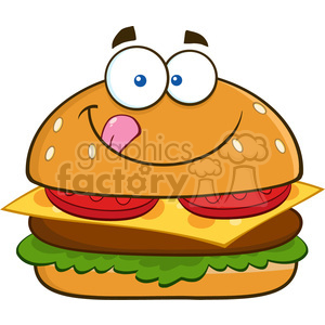 8517 Royalty Free RF Clipart Illustration Hungry Hamburger Cartoon  Character Licking His Lips Vector Illustration Isolated On White clipart..