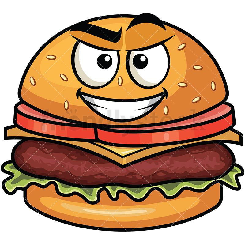 Cunning Evil Face Hamburger Emoji.