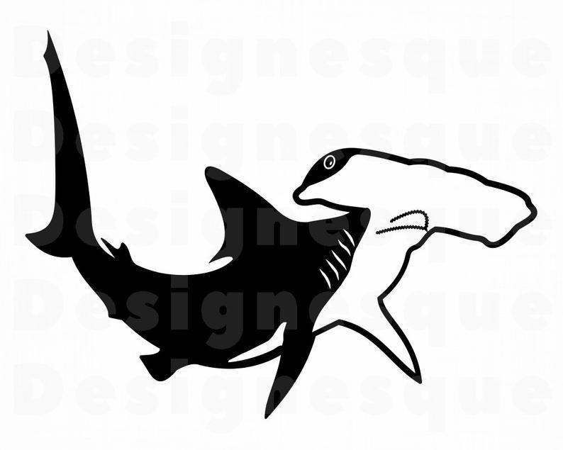 Hammerhead Shark SVG, Hammerhead Shark Clipart, Hammerhead Shark Files for  Cricut, Hammerhead Shark Cut Files For Silhouette, Dxf, Png, Eps.
