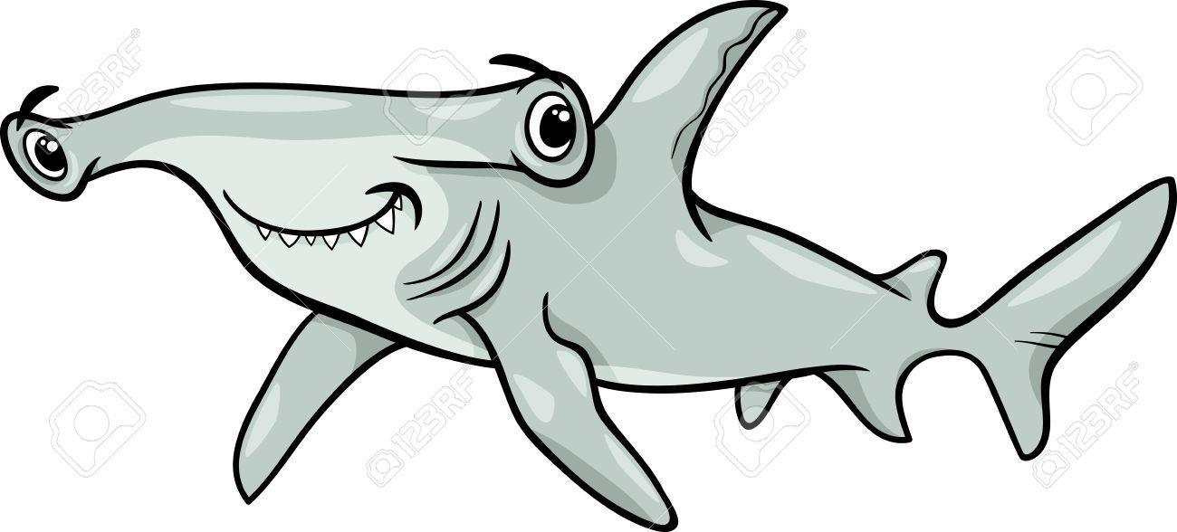 Cartoon Illustration of Hammerhead Shark Fish Sea Life Animal.