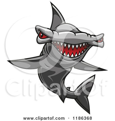 Clipart of a Red Eyed Hammerhead Shark.