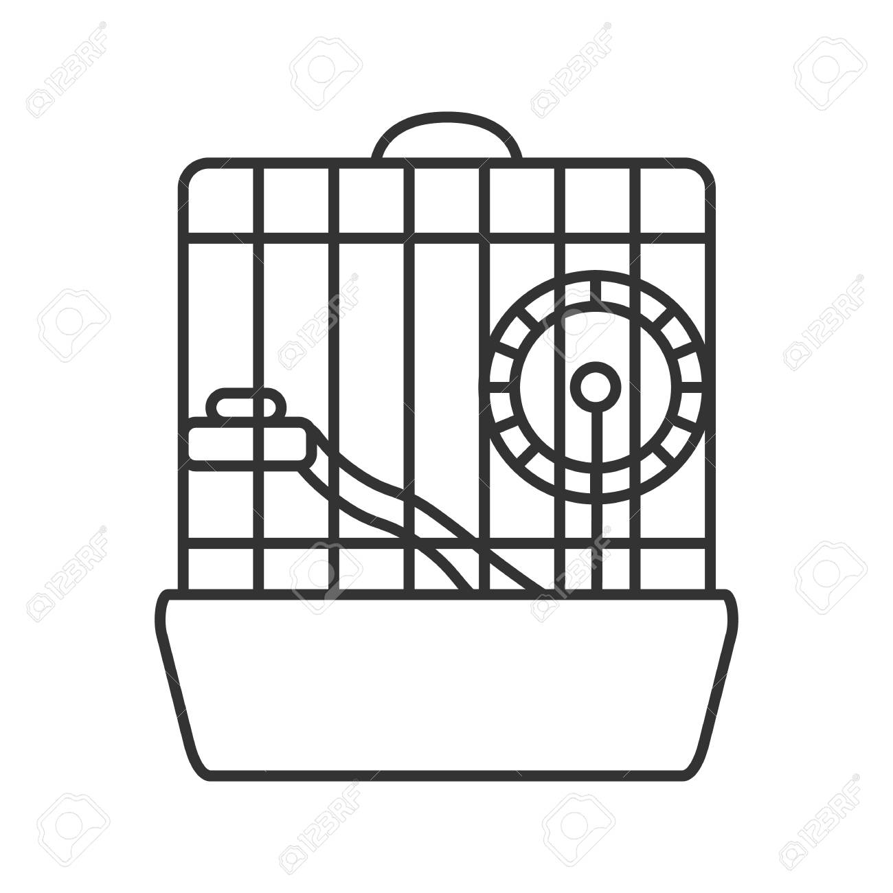 Hamster cage linear icon. Thin line illustration. Rodent wheel.