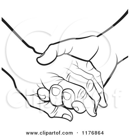 Clipart of a Young Hand Holding a Senior Hand on a Green Heart.