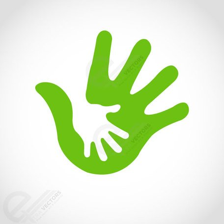 Hand in hand assistant concept. Free Clipart Picture.