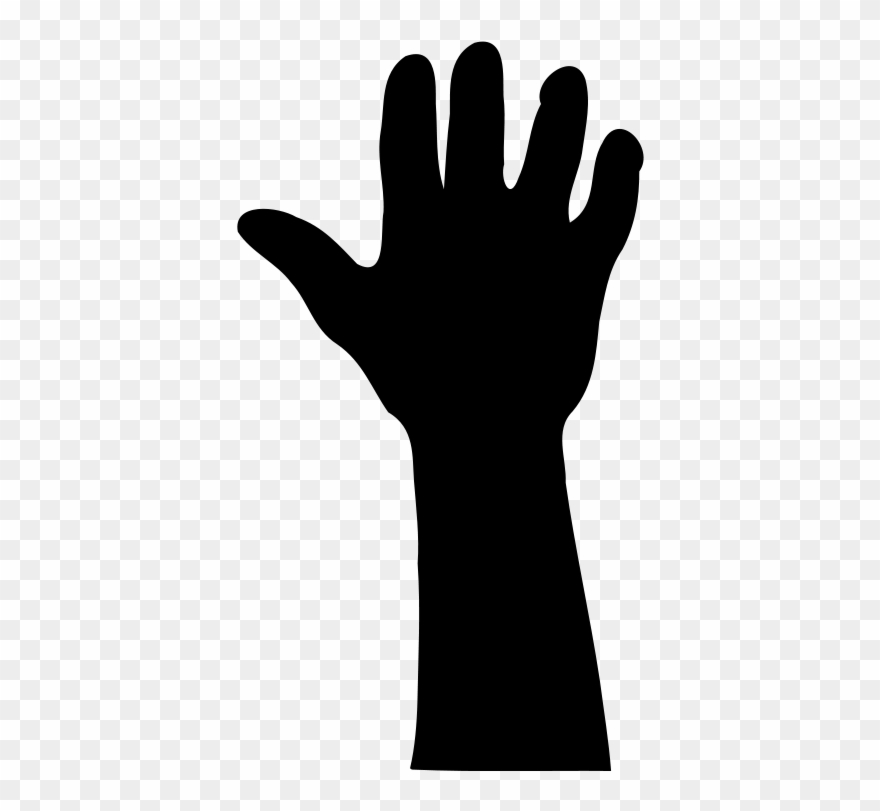 Raised Hand In Silhouette Clip Art Download.