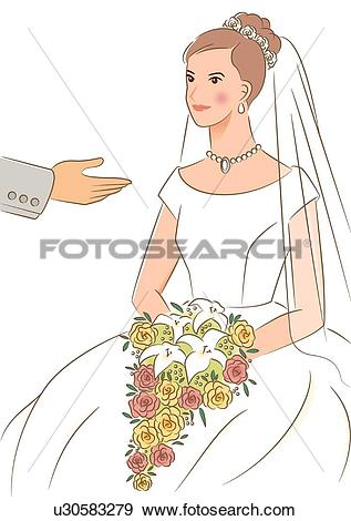 Stock Illustration of Groom reaching hand out to bride sitting and.
