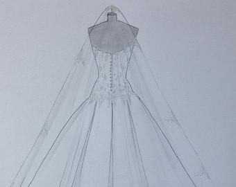 Custom Wedding & House Portraits Fashion Illustrations by Zoia.