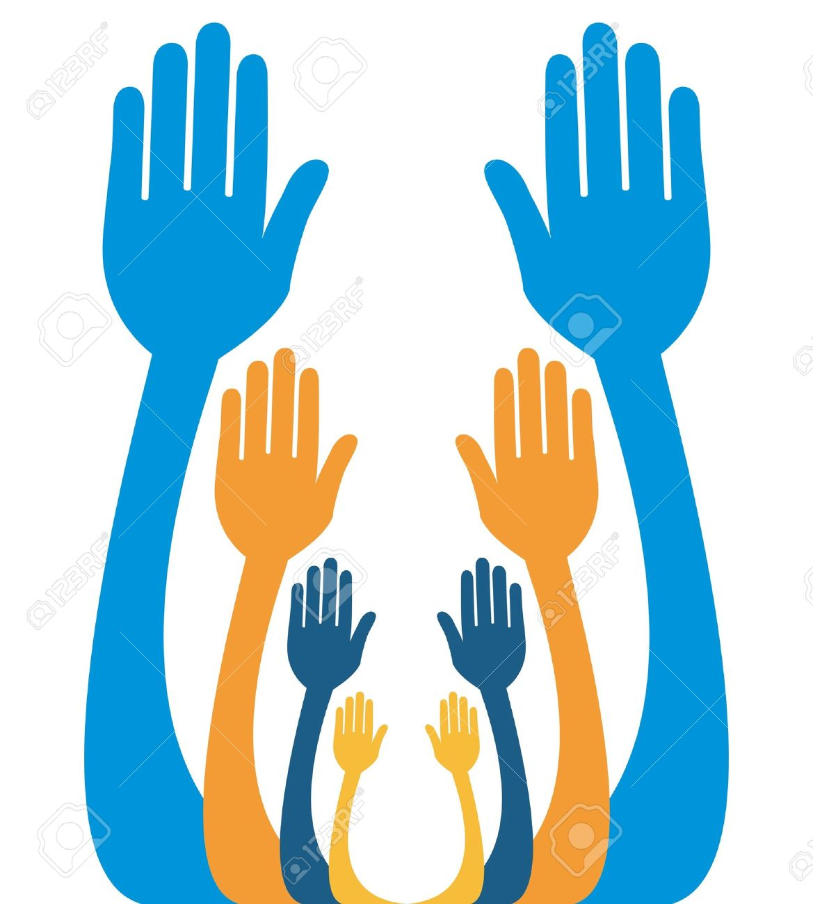 Hands Reaching Out Together Vector Design. Royalty Free Cliparts.