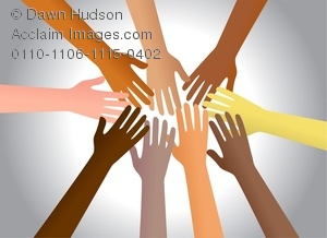 Clipart Image of A Group Of Diverse Hands Reaching Out To Each.
