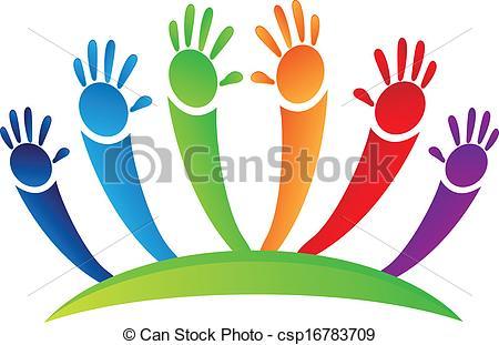 Vector Clipart of Hands up team logo.