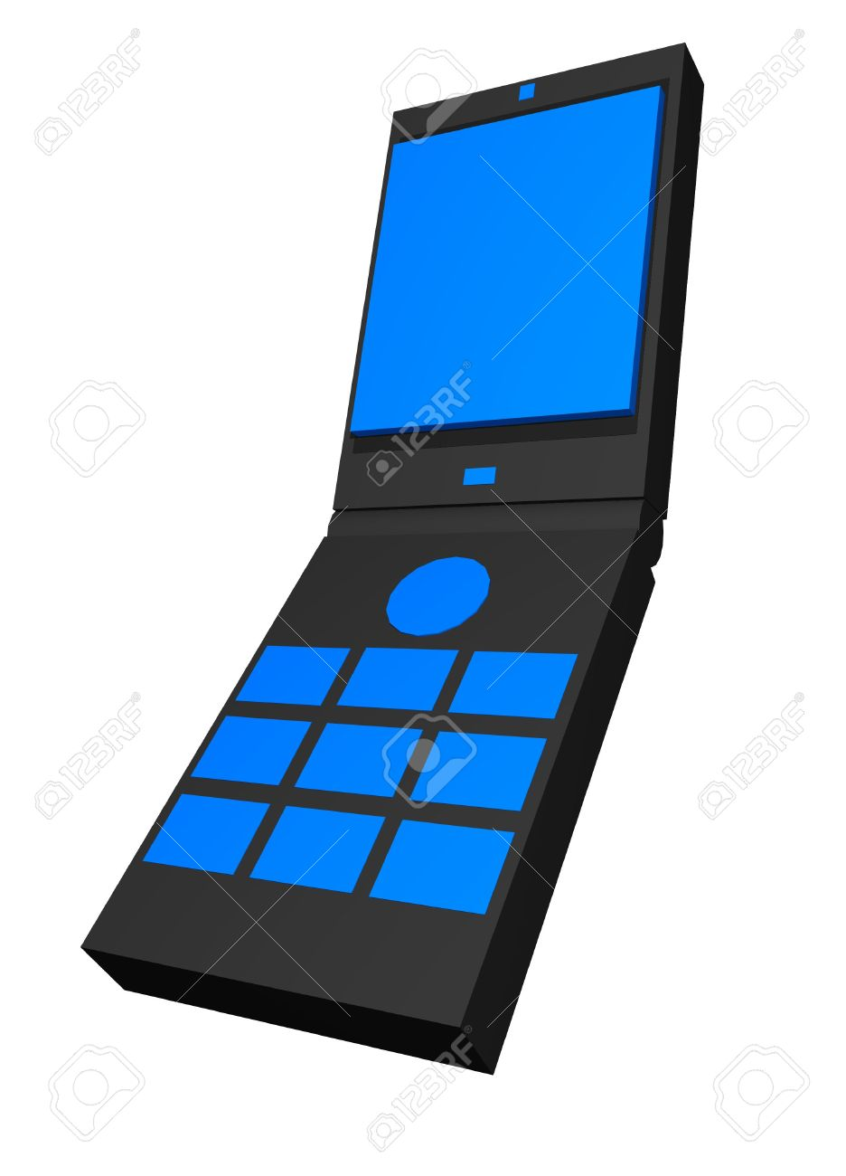Clamshell Handphone Clip Art Stock Photo, Picture And Royalty Free.