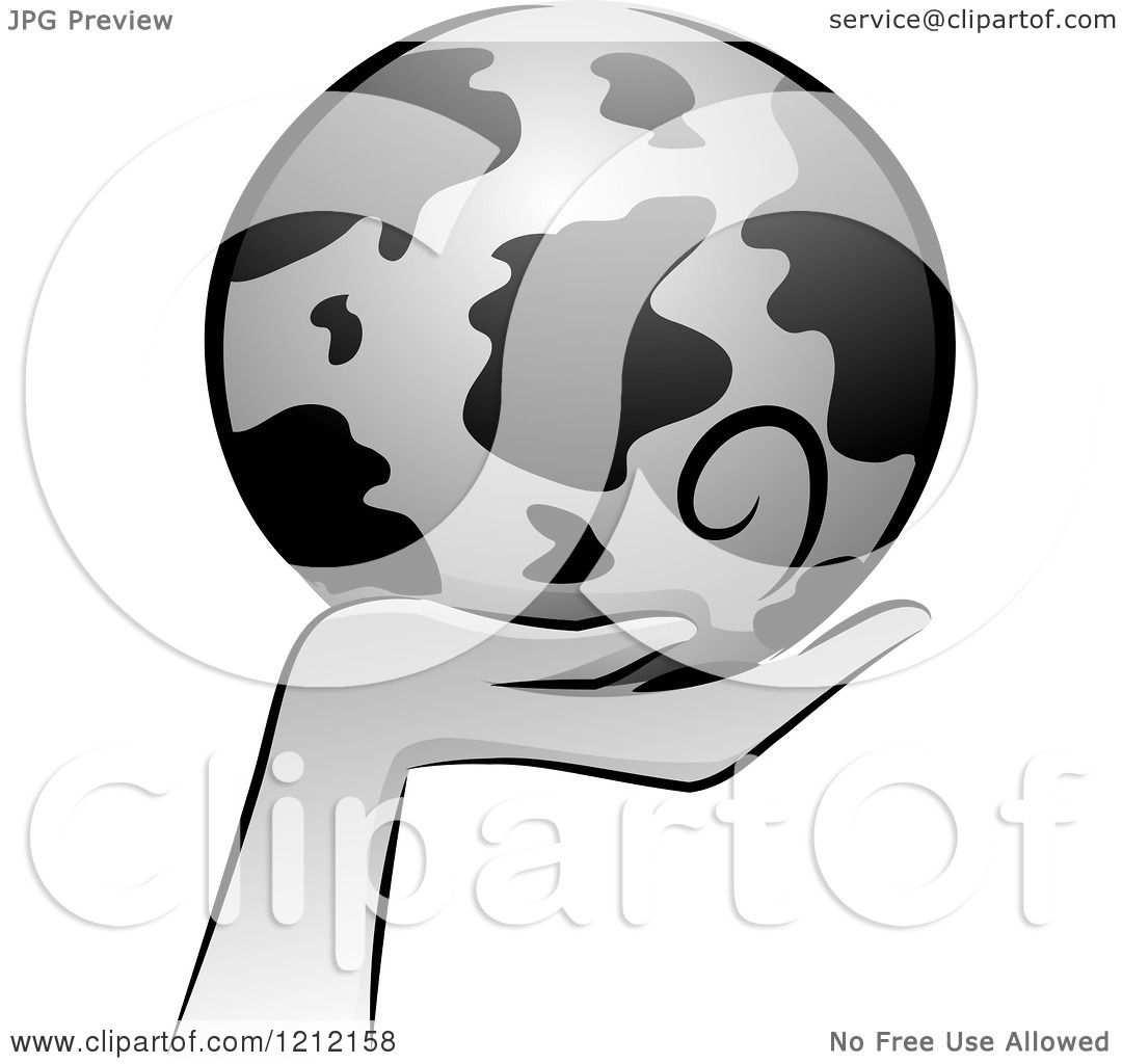 Cartoon of a Grayscale Whimsical Hand Holding Earth.