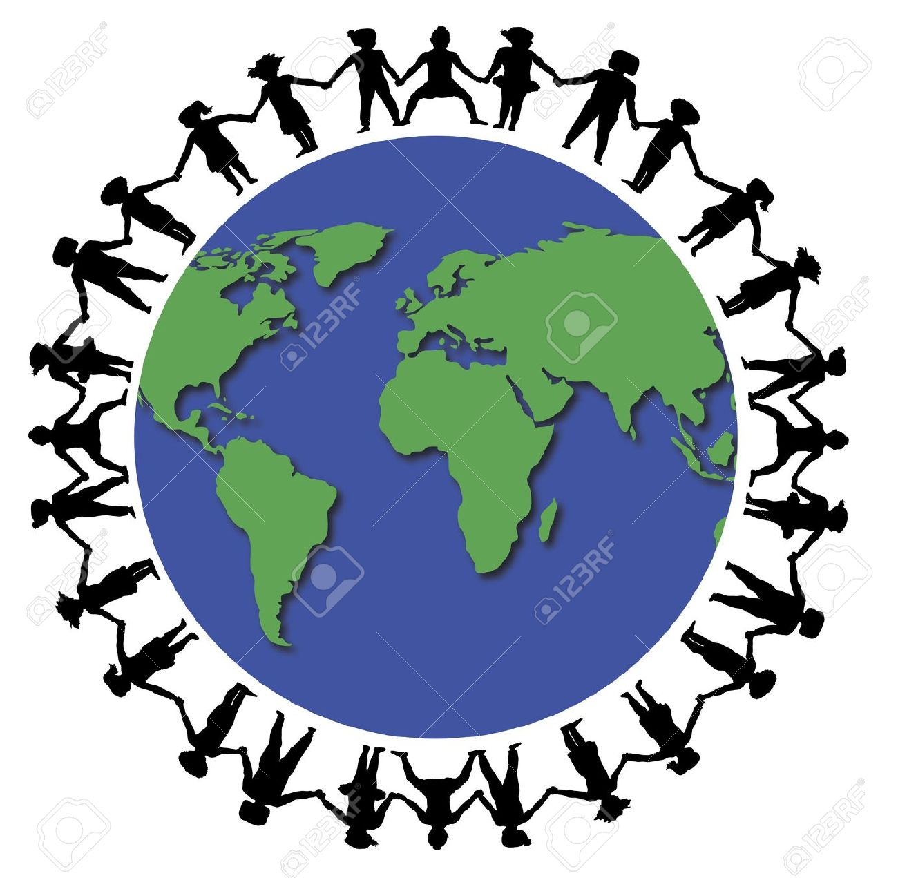 Illustration Of Children Holding Hands Around The World Stock.