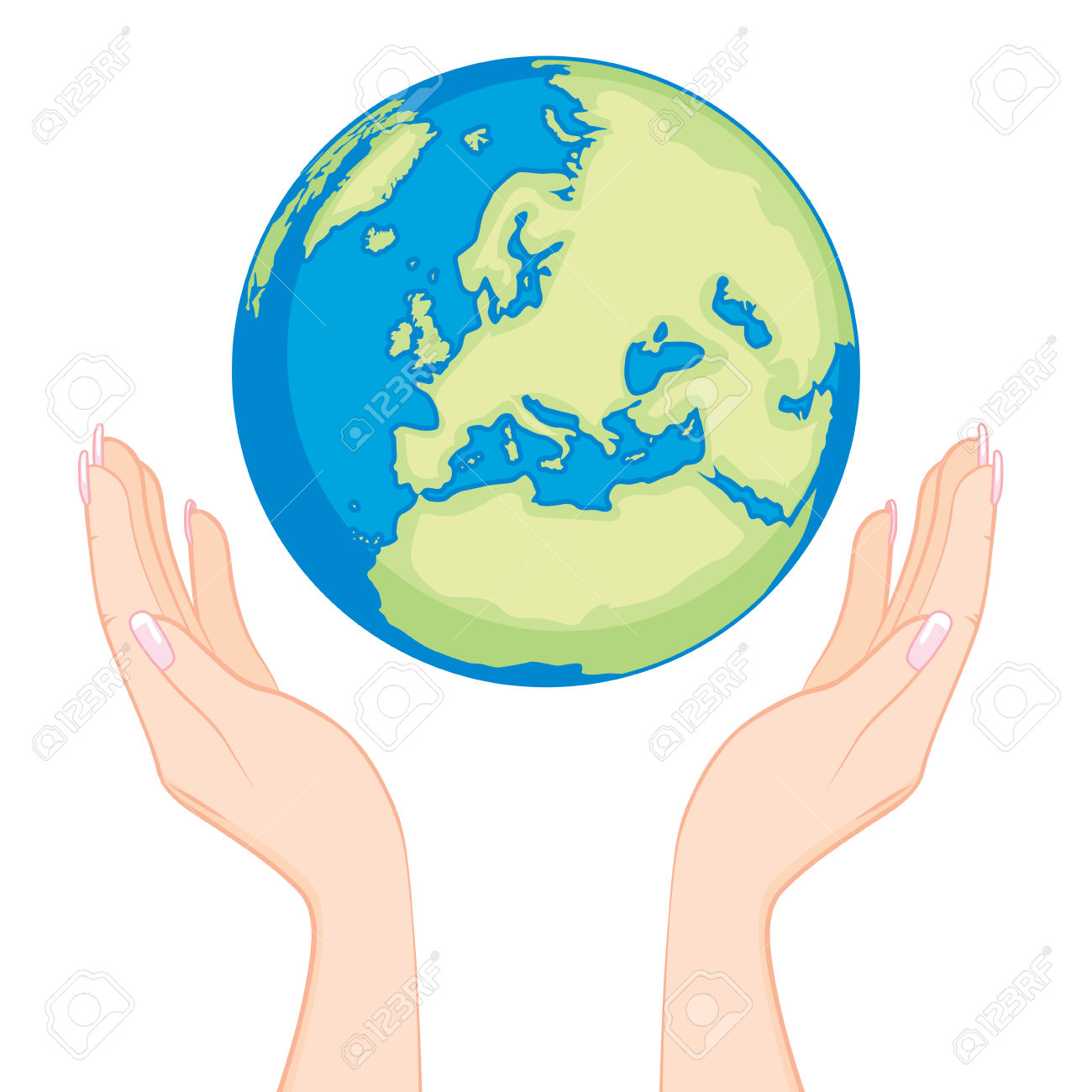 Ecology Concept Of Beautiful Woman Hands Holding Earth Globe.