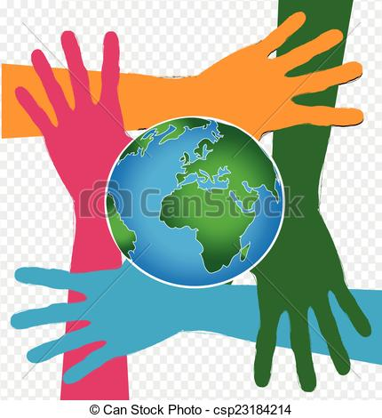 Vector Clip Art of Hand Holding World and globe hands idea.