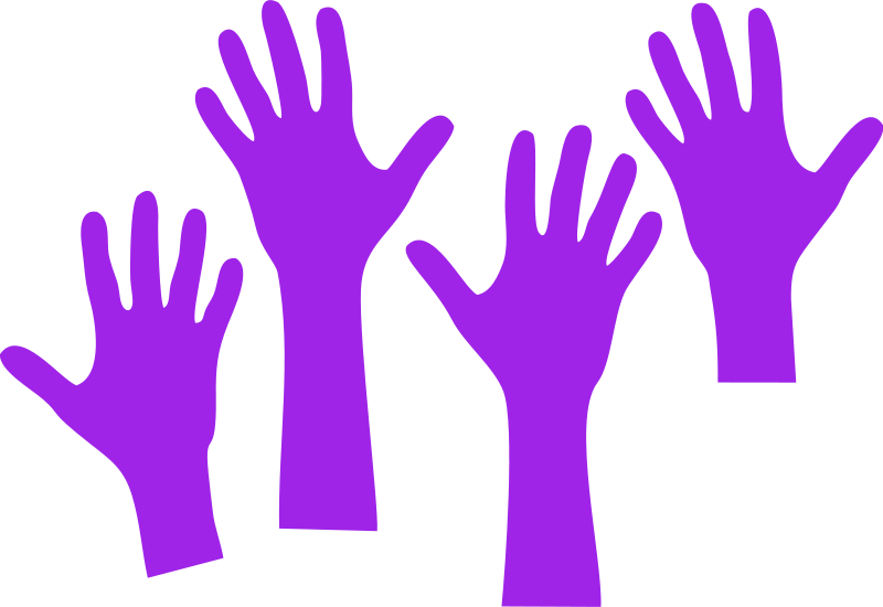 Free Clipart: Four Hands Reaching.