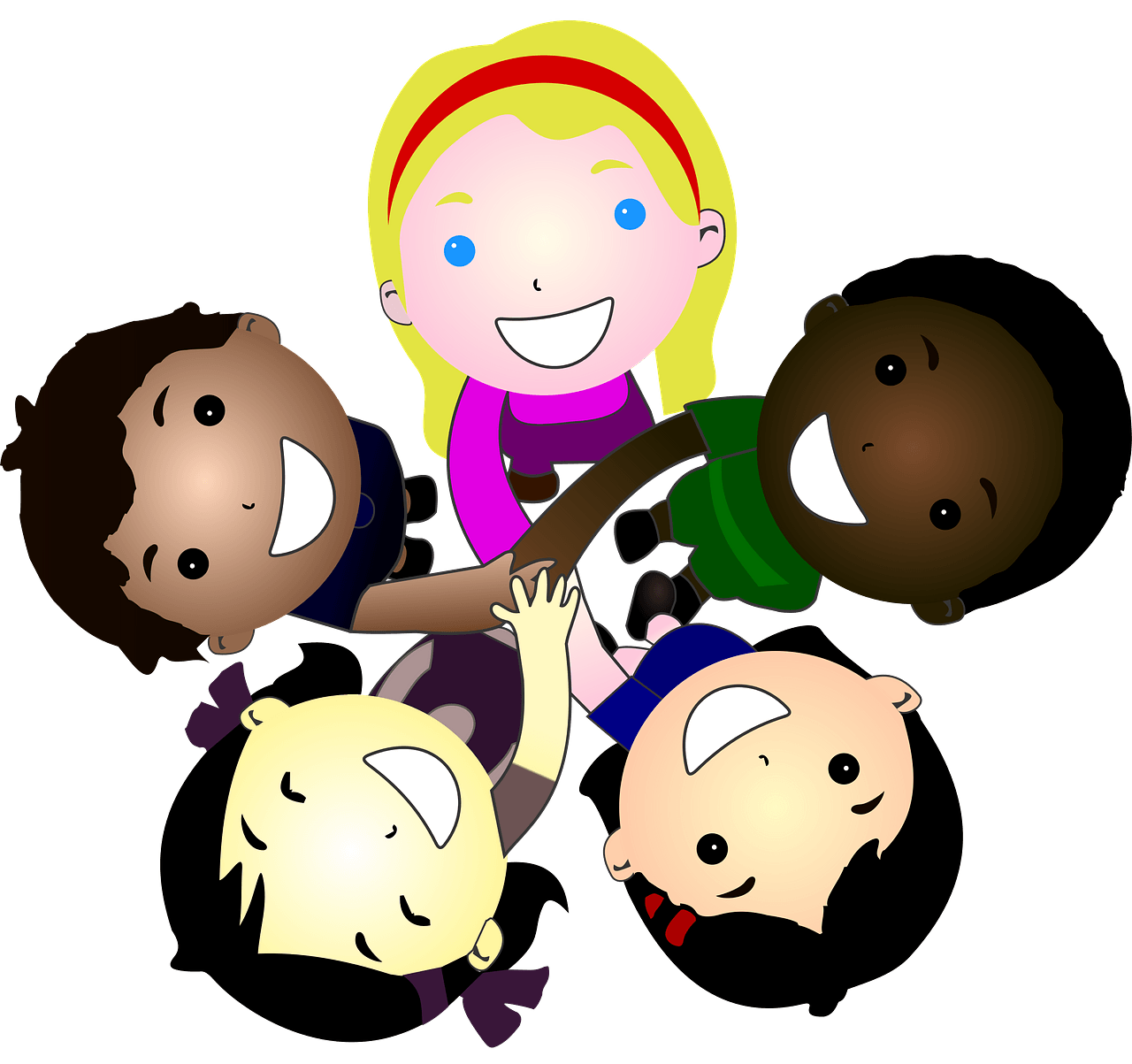 Five kids joining hands together clipart. Free download.