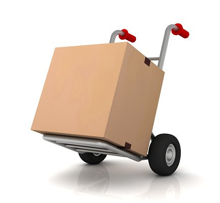 cardboard box and hand truck 3d illustration Clipart Image.