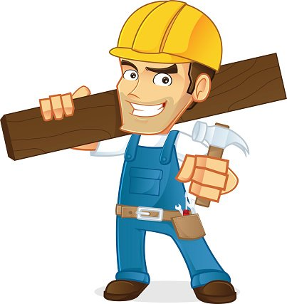 Handyman holding a wooden board and a hammer Clipart Image.