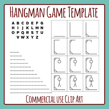 Hangman Word Game Template Clip Art Set for Commercial Use.
