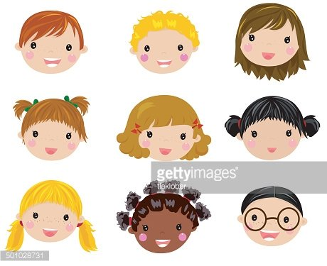 happy children face set Clipart Image.
