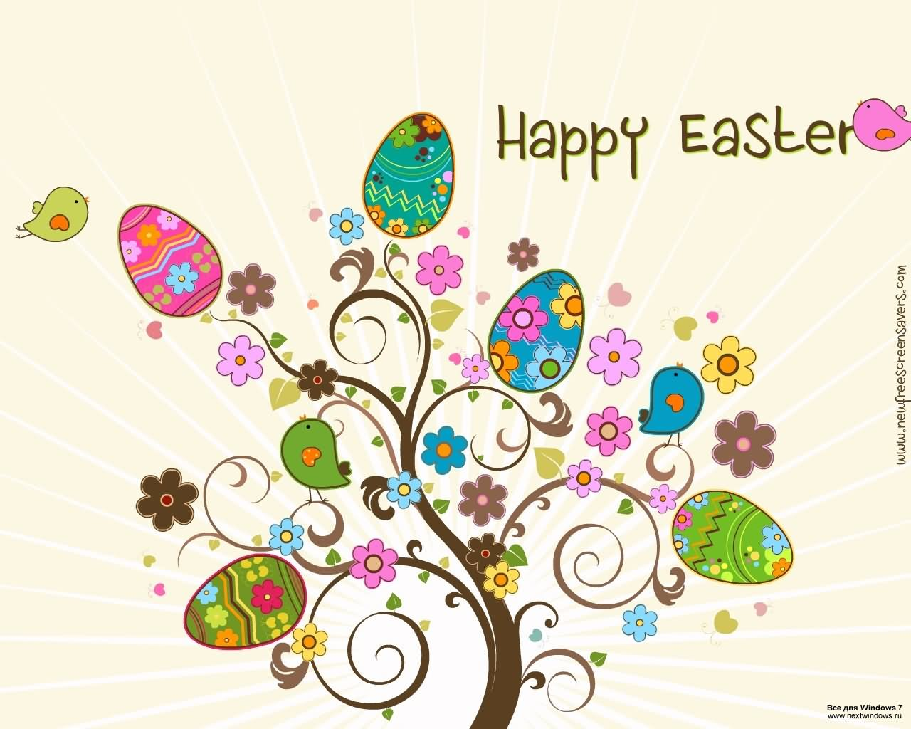 Happy Easter Clipart Eggs Tree Picture.