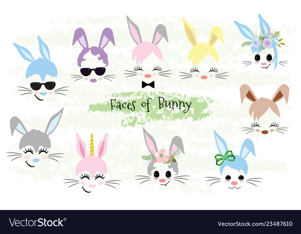 Happy easter bunny face clipart easter gift.