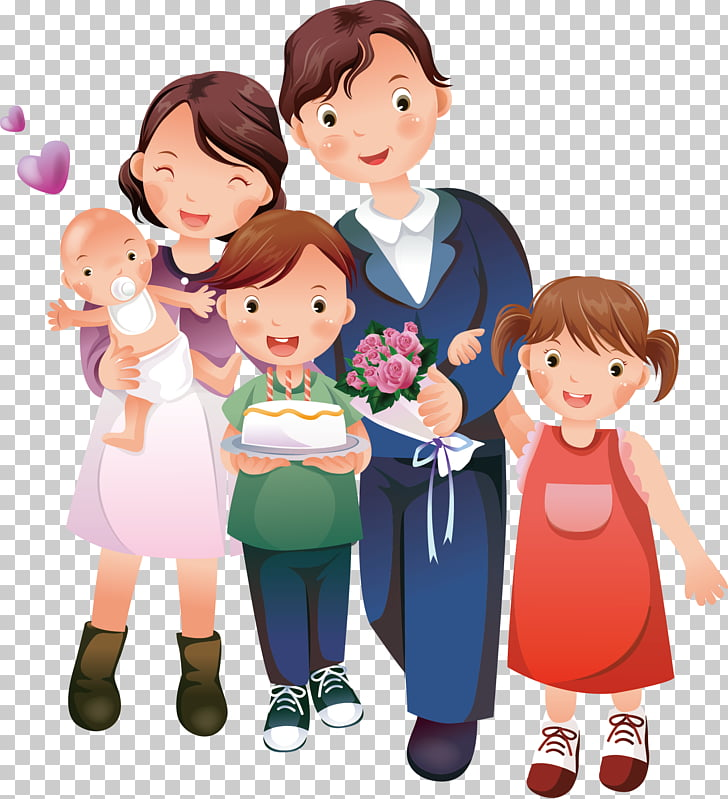 Cartoon , happy family, photo of family PNG clipart.