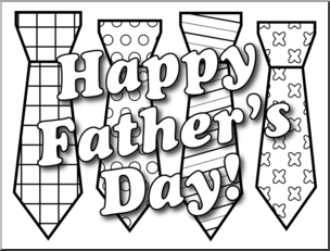 Clip Art: Happy Father\'s Day Ties B&W I abcteach.com.