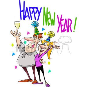 happy new year party invitation vector cartoon art clipart. Royalty.