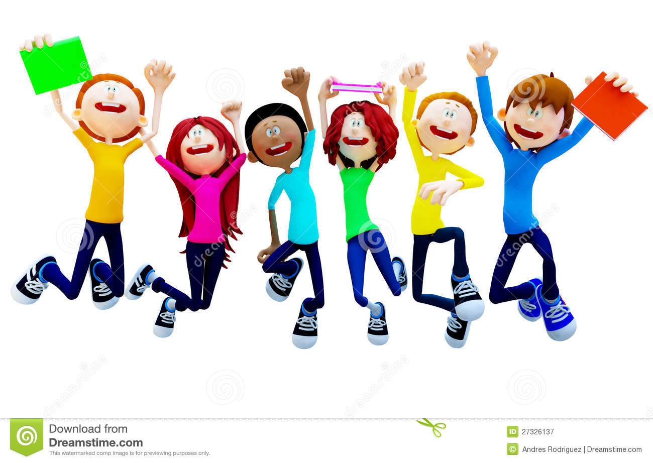 Excited Students Clipart.