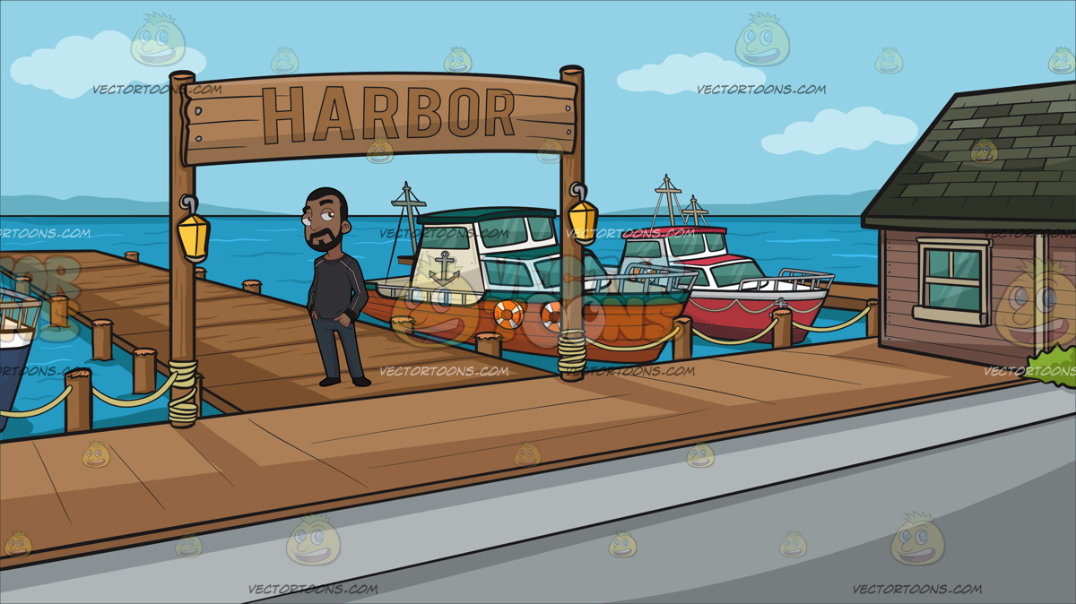A Man In Sweatshirt at A Small Town Harbor » Clipart Station.