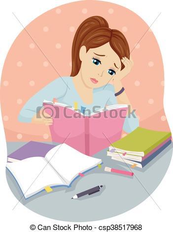 Clip Art Vector of Teen Girl Books Study Hard.