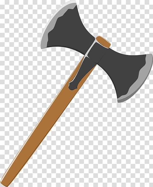 Brown and black double blade axe illustration, Battle axe Hatchet.