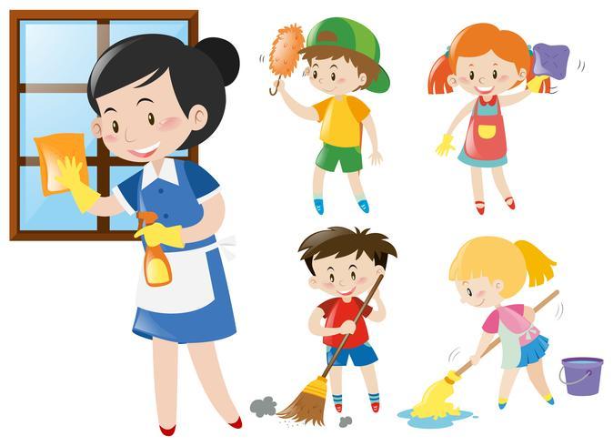 Mädchen und Kinder bei der Hausarbeit.
