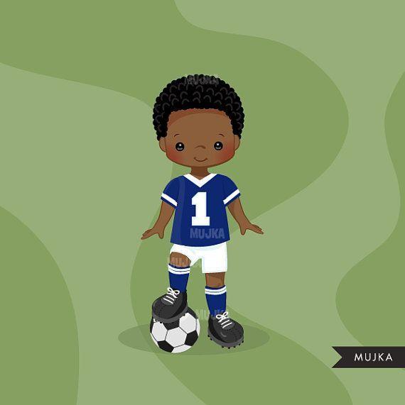 Fußball clipart. Sport Grafiken, Jungen Fußball Spieler.