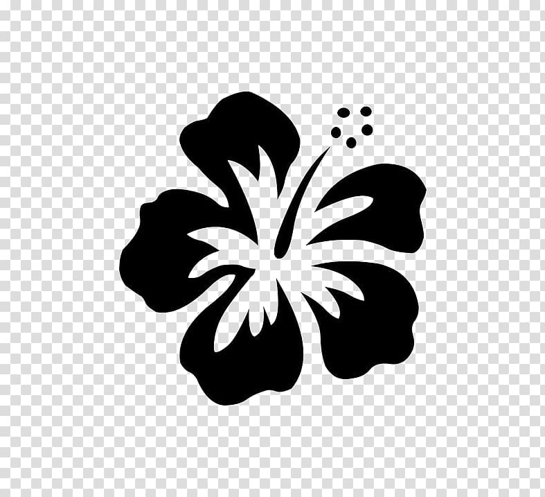 Black and white hibiscus flower illustration, Hawaiian.
