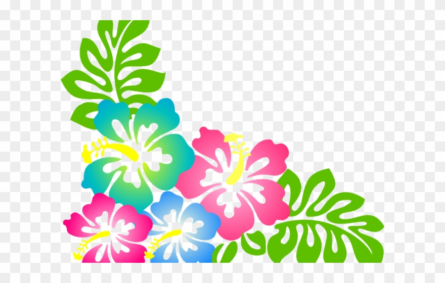 Hibiscus Clipart Hawaiian Theme.