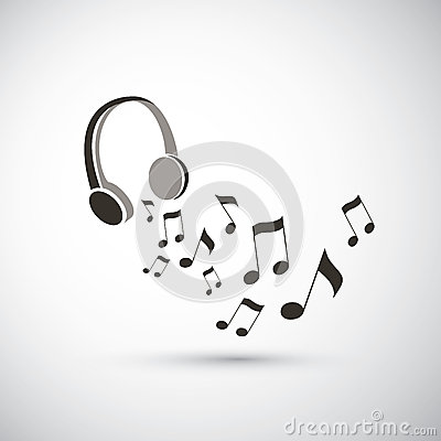 Musical Notes Flying From Headphones Stock Vector.