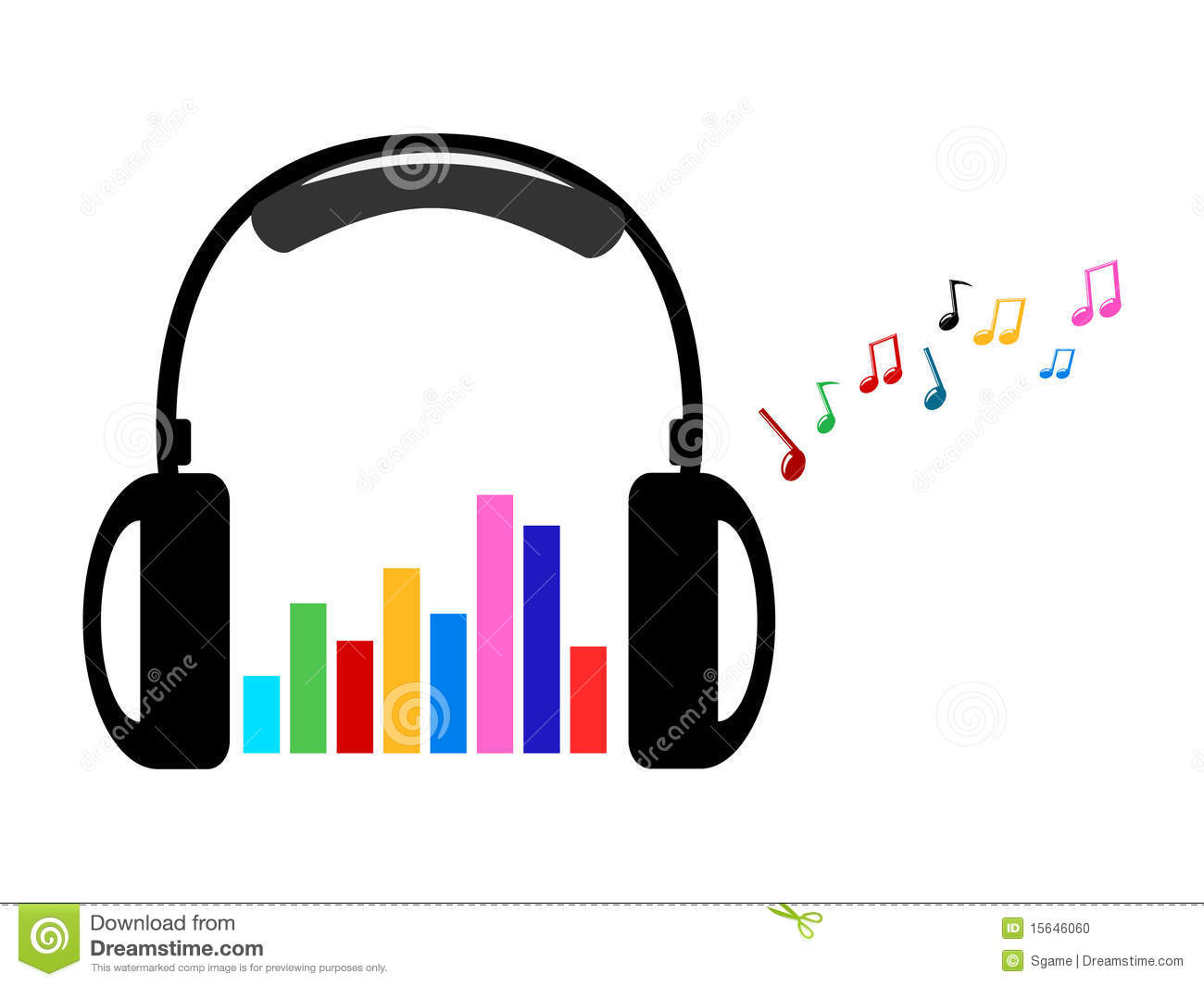 Headphone And Colorful Volume And Music Notes Stock Photo.